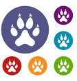 cat paw icons set vector image