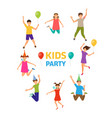 kids party funny girls and boys jumping vector image
