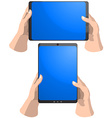 Tablet PC in hands vector image