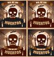 print - mexican sugar skull and heart set day of vector image