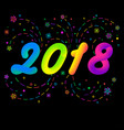 background with fireworks and new year 2018 vector image