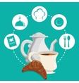 breakfast tea pot bread croissant badge green vector image