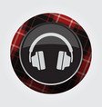 button with red black tartan - headphones icon vector image