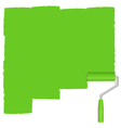 Green background with paint roller vector image