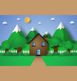 house with nature landscape hill and mountain vector image