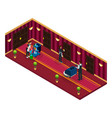 isometric hotel cleaning service concept vector image