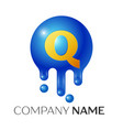q letter splash logo blue dots and bubbles letter vector image
