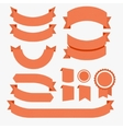 Ribbons Flat Design Set Red vector image