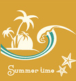 Summer time with sea wave and tropical palm trees vector image