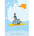 World Disabilities day Man in wheelchair floats on vector image