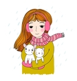The young beautiful girl with two cute little vector image