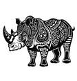 decorative rhinoceros in tattoo style vector image vector image