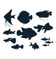 aquarium fish silhouettes vector image