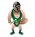 wrestler painter vector image vector image