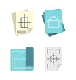 architectural paper icon set flat style vector image