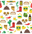cartoon mexican culture background pattern on a vector image