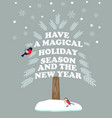 christmas new year poster with holiday wishes vector image