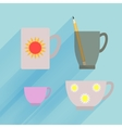 Dark transparent mug isolated porcelain demitasse vector image
