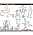 sportsmen cartoon coloring page vector image