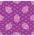 Waves and scallops seamless pattern in purple vector image