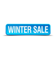 Winter sale blue 3d realistic square isolated vector image