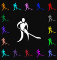 Winter sport Hockey icon sign Lots of colorful vector image