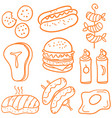 various food of doodle set vector image