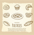 vintage poster of bakery products vector image vector image