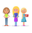 Three cute girls holding open textbooks on white vector image