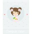beautiful Asian little girl enjoy sushi - menu vector image vector image