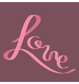 Pink satin ribbon in shape of word Love Flat vector image vector image