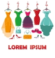 Colored summer dresses and accessories set vector image