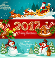 Christmas banner set with gift Santa and snowman vector image