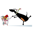Dog is shopping vector image