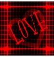 LOVE icon on red neon abstract background with vector image