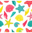 seashell seamless pattern design for holiday vector image