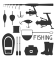 Set of fishing supplies Objects for decoration vector image