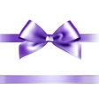 Shiny purple satin ribbon on white background vector image