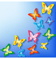 Summer background with 3d colorful butterfly vector image