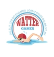 emblem of cartoon Swimming man vector image