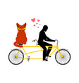 cat lover on tandem my kitty lovers of cycling vector image