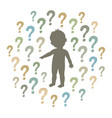 silhouette of a curious child pointing at vector image
