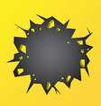 Hole cracked in the yellow wall vector image