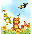 Animals in the flower garden vector image