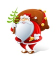 santa claus with sack and bell vector image vector image