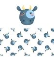 Cow Head Icon And Pattern vector image