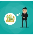 Business man dreaming about money vector image