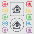 House icon sign symbol on the Round and square vector image