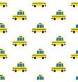 yellow cartoon taxi seamless pattern vector image