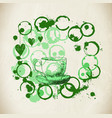 cup of fresh green tea with tea stai vector image